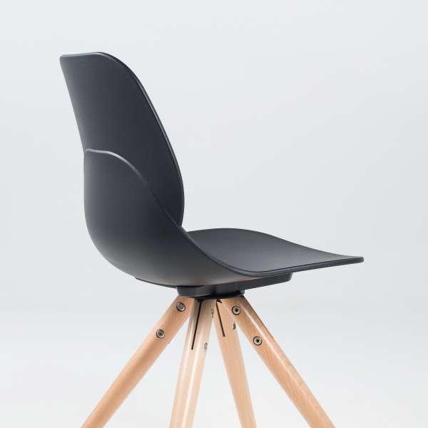 Chaise design en polypropylène noir et bois - Victoire 7 - 7