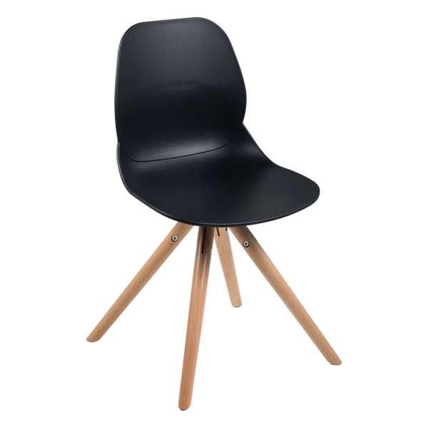 Chaise design en polypropylène noir et bois - Victoire - 1