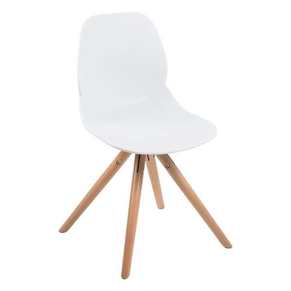 Chaise design en polypropylène blanc et bois - Victoire - 9