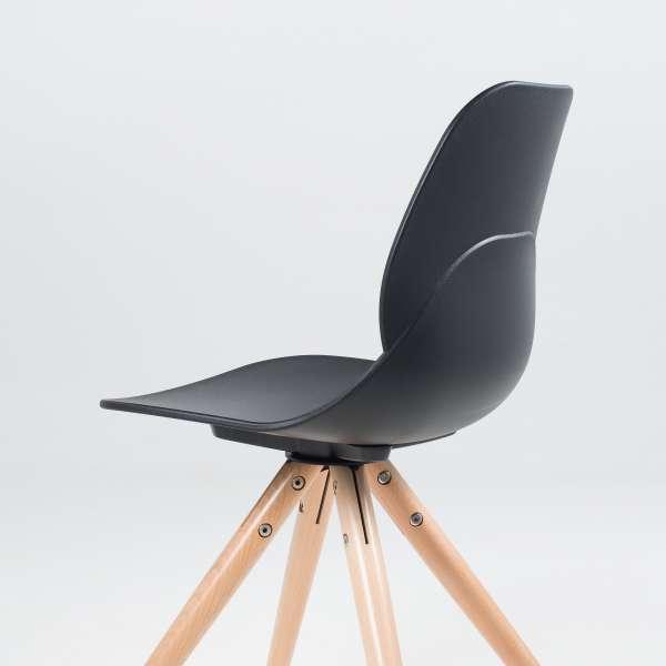 Chaise design en polypropylène noir et bois - Victoire 8 - 8