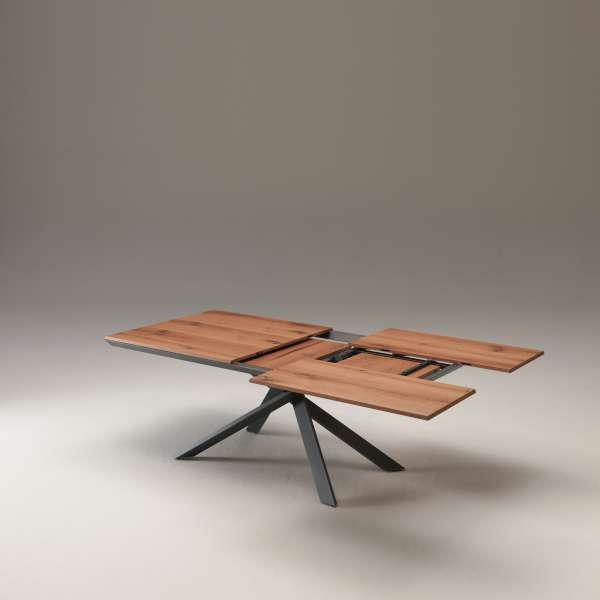 Table design rectangulaire extensible en bois et métal - 4x4 11 - 11