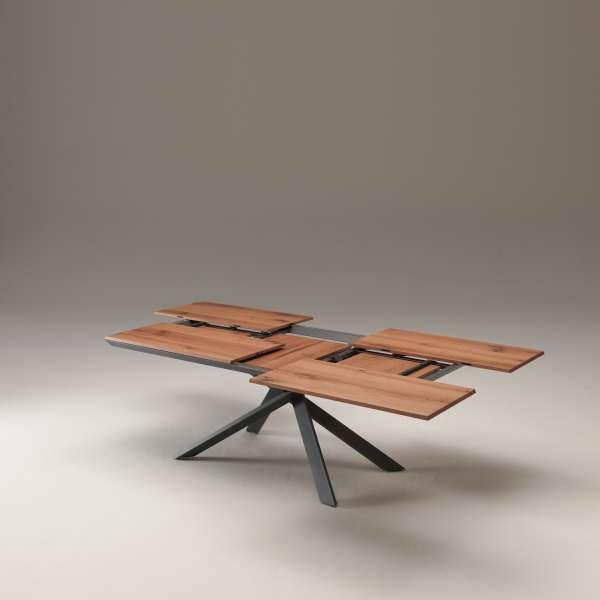 Table design rectangulaire extensible en bois et métal - 4x4 12 - 12