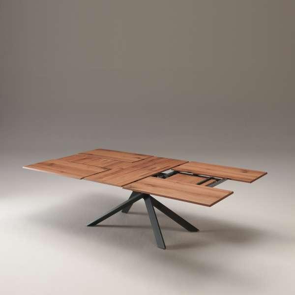 Table design rectangulaire extensible en bois et métal - 4x4 16 - 16