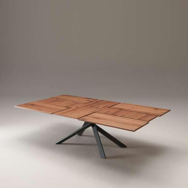 Table design rectangulaire extensible en bois et métal - 4x4 18 - 18