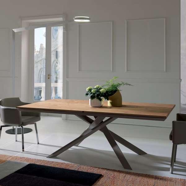 Table design extensible rectangulaire en bois et métal - 4x4