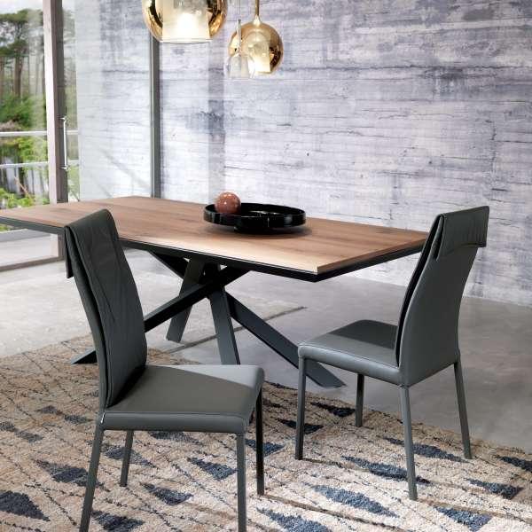 Table design rectangulaire extensible en bois et métal - 4x4 5 - 5