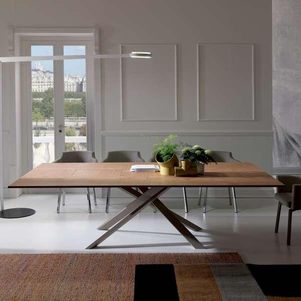Table design rectangulaire extensible en bois et métal - 4x4 8 - 8