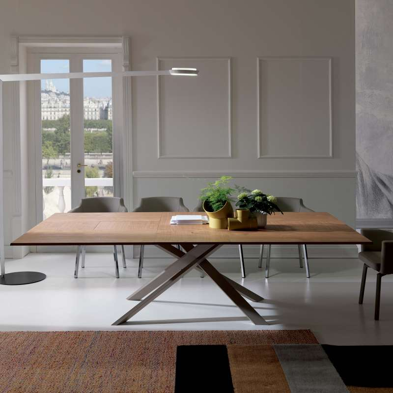 Table Design Extensible Rectangulaire En Bois Et M 233 Tal