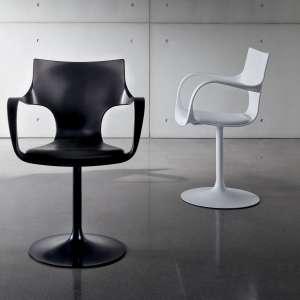 Chaise design pivotante avec accoudoirs en métal et polypropylène noir - Flûte Sovet®