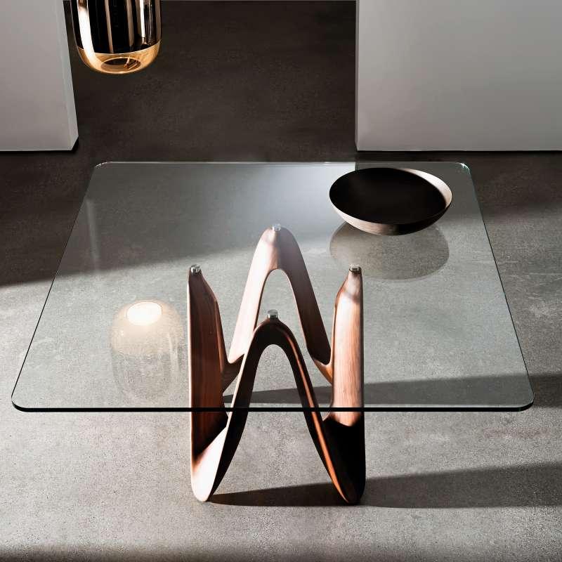 Table en verre design carr e ou rectangulaire lambda for Table carree en verre avec 4 chaises encastrables