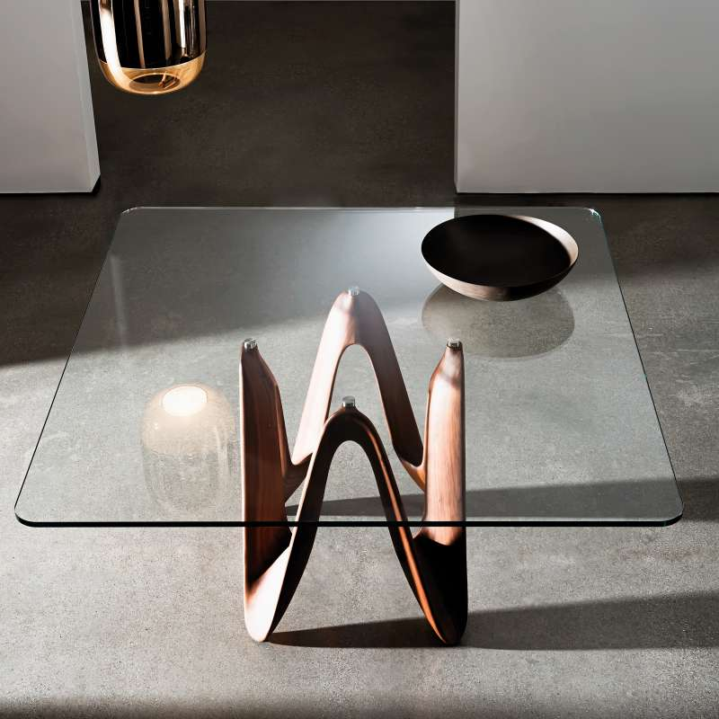 table en verre design carr e ou rectangulaire lambda. Black Bedroom Furniture Sets. Home Design Ideas
