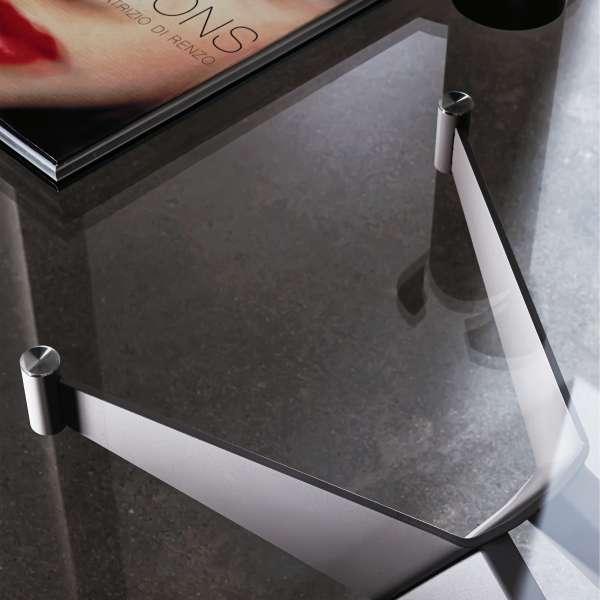 Table de salle à manger design en verre et métal - Cross 6 - 6