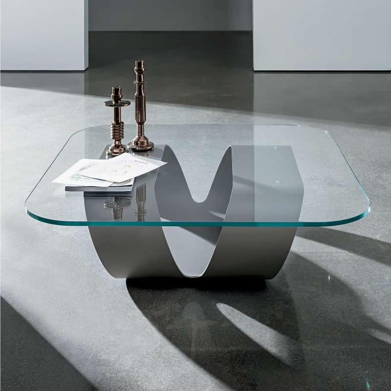 Table basse design en verre ring sovet 4 pieds for Pieds de table basse design