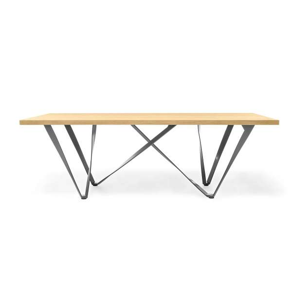Table design rectangulaire en métal et bois - Wave