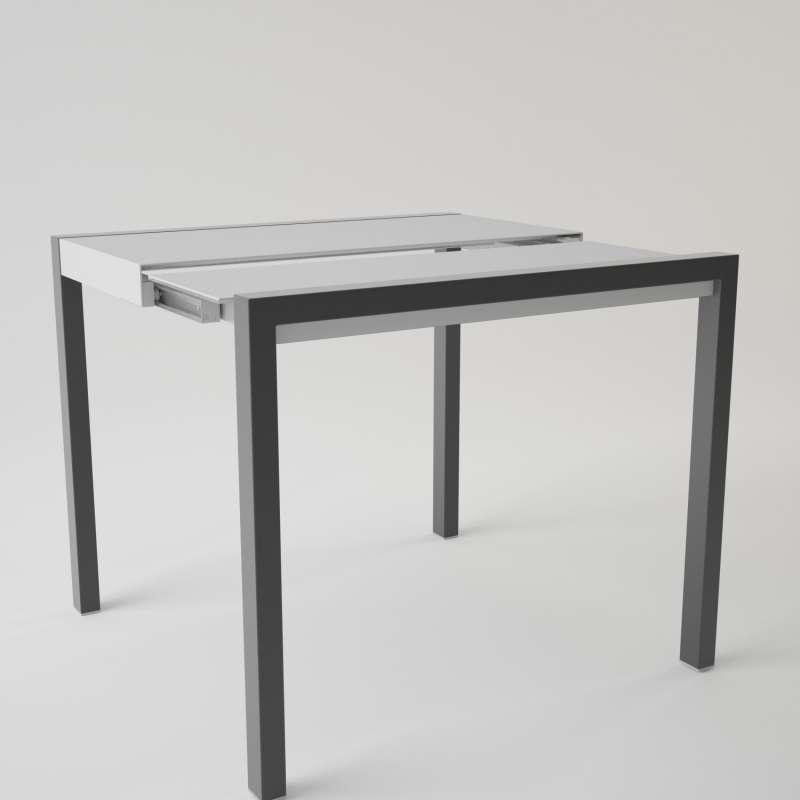 Table en verre extensible pour petit espace concept for Table ronde ou rectangulaire pour petit espace