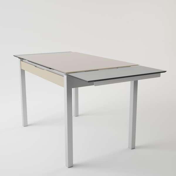 Table de cuisine en verre extensible avec tiroir - Camel 4 - 4