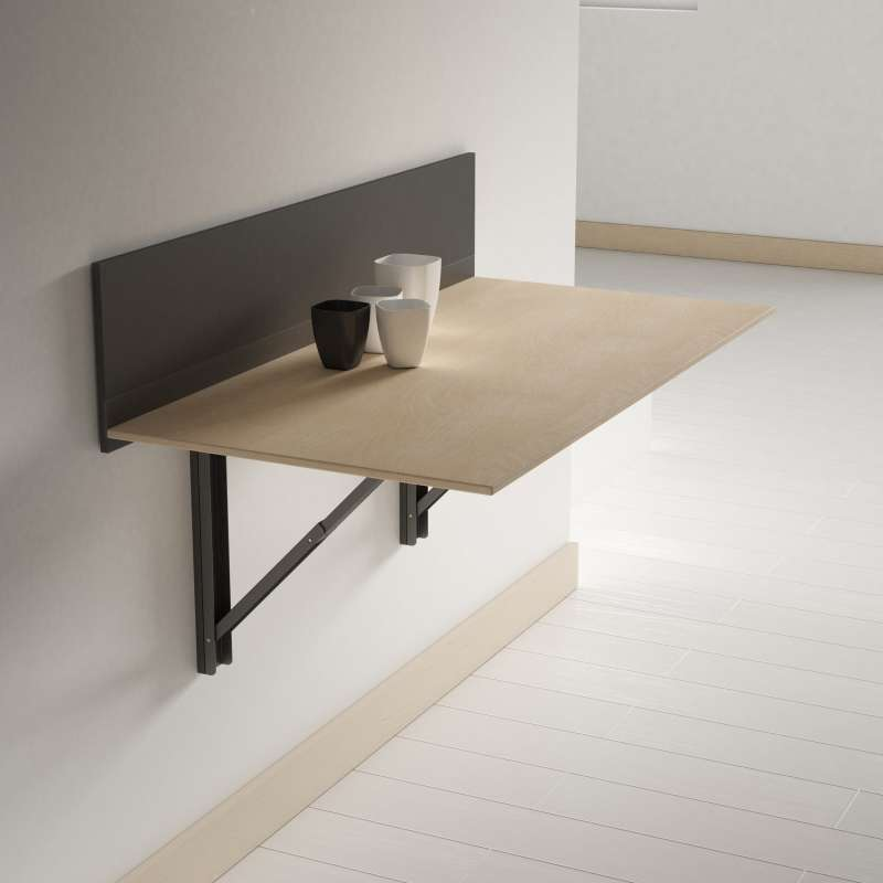 Table pliante murale contemporaine click 4 pieds - Table rabattable murale cuisine ...