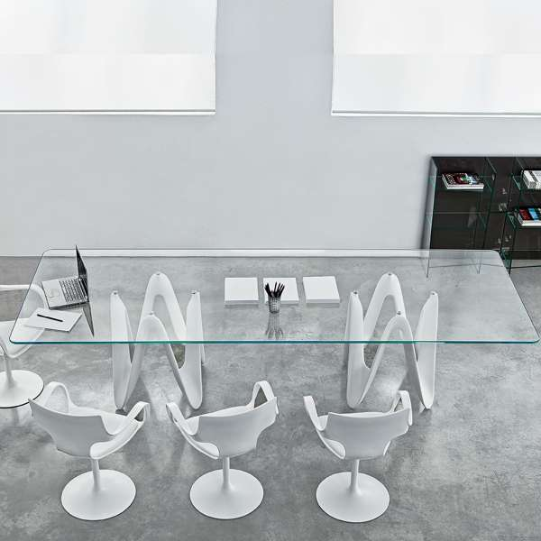 Table de salle manger design en verre 320 x 120 cm lambda sovet 4 pi - Table salon verre design ...