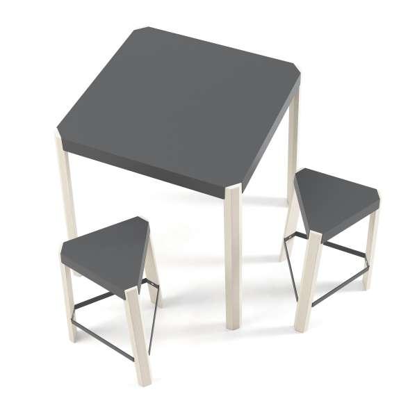 Tabouret bas triangulaire en métal et bois - Podio 4 - 3