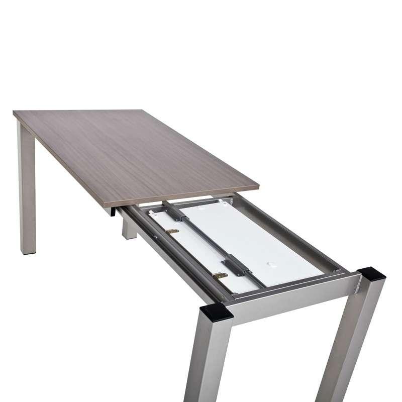 Table de cuisine snack rectangulaire extensible en for Table haute avec rallonge