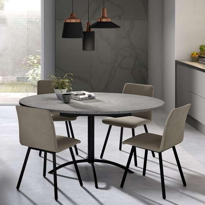 Table de cuisine ronde for Table extensible 4 pieds
