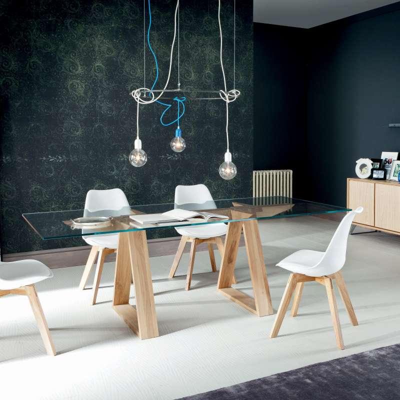 table design en verre tremp et bois massif tokyo 4 pieds tables chaises et tabourets. Black Bedroom Furniture Sets. Home Design Ideas