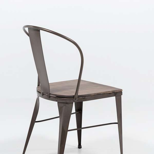 chaise industrielle en acier brut vernis, assise bois pin rustique - 3