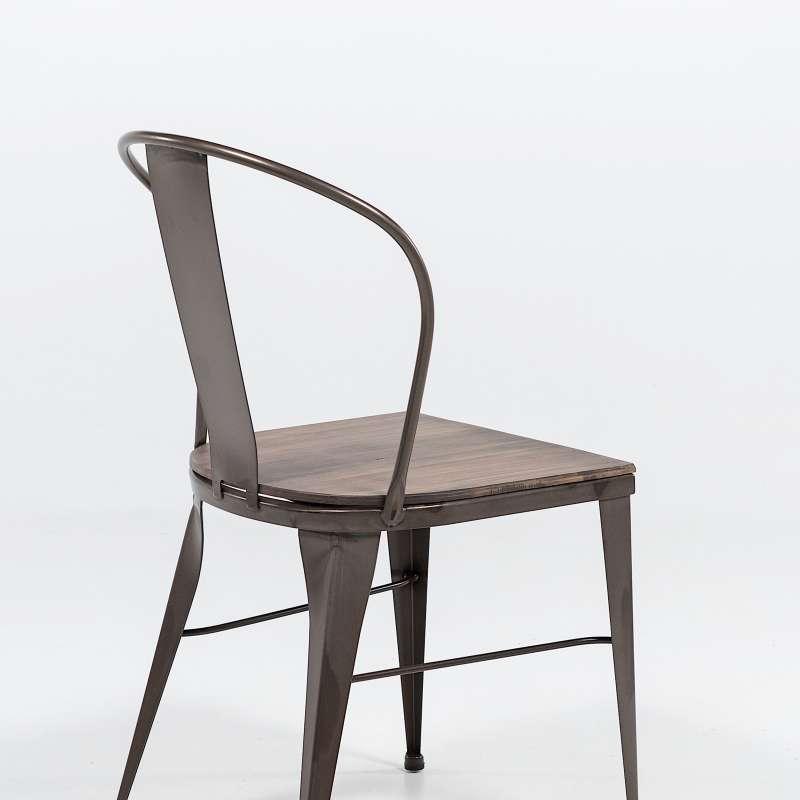 Chaise industrielle vintage en m tal 631 4 pieds tables chaises et tab - Chaise acier industriel ...