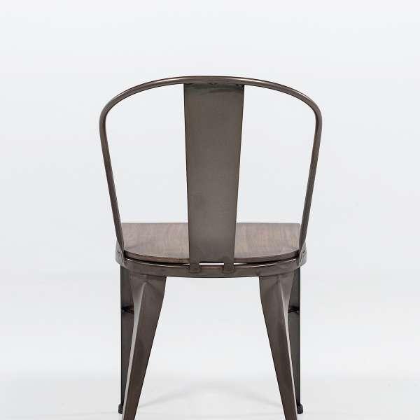 chaise industrielle en acier brut vernis, assise bois pin rustique 2 - 4