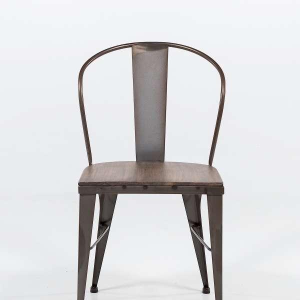 chaise industrielle en acier brut vernis, assise bois pin rustique 4 - 6