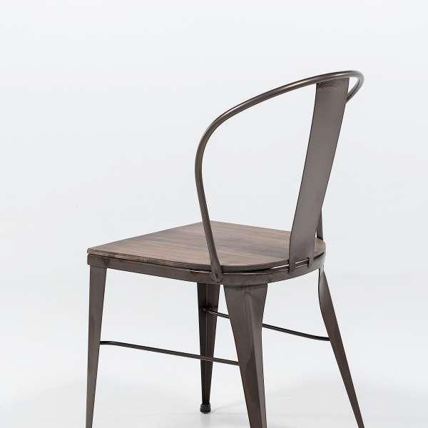 chaise industrielle en acier brut vernis, assise bois pin rustique 6 - 8