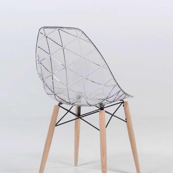 Chaise design coque transparente et bois - Prisma 2 - 2