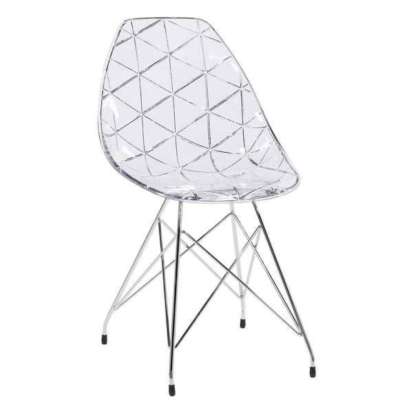 Chaise design coque transparente et métal chromé - Prisma