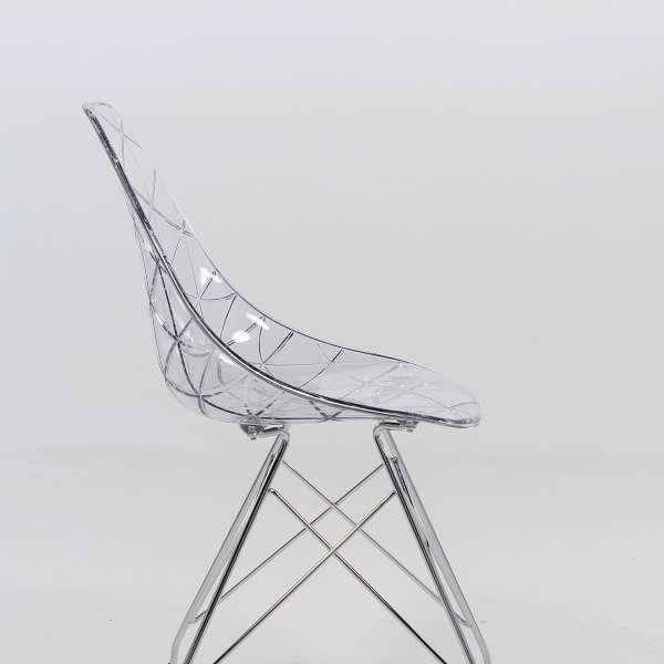 Chaise design coque transparente et métal - Prisma 4 - 4