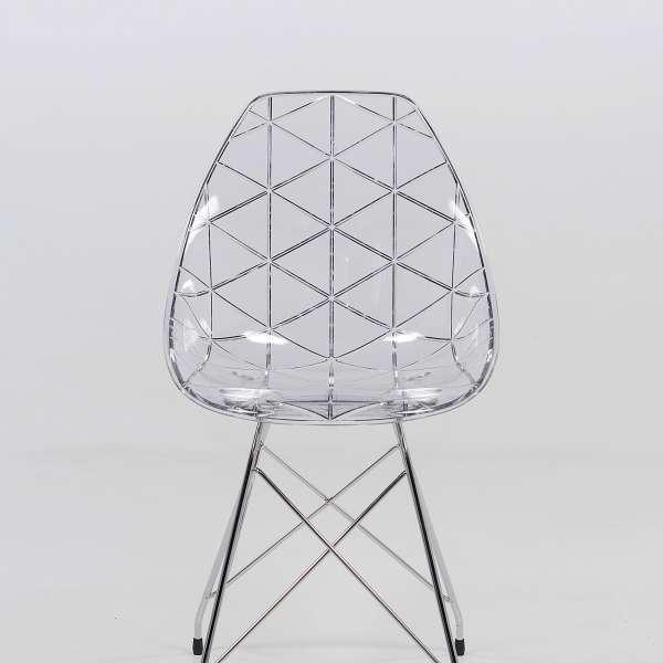 Chaise design coque transparente et métal - Prisma 5 - 5