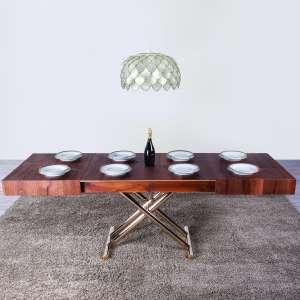 Table relevable extensible en chêne W21 piétement doré M15- Ulisse