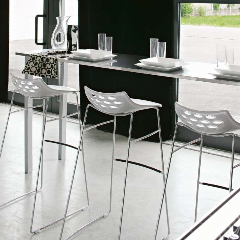 tabouret de bar design en plexi jam ht 80cm calligaris 4 pieds tables chaises et tabourets. Black Bedroom Furniture Sets. Home Design Ideas