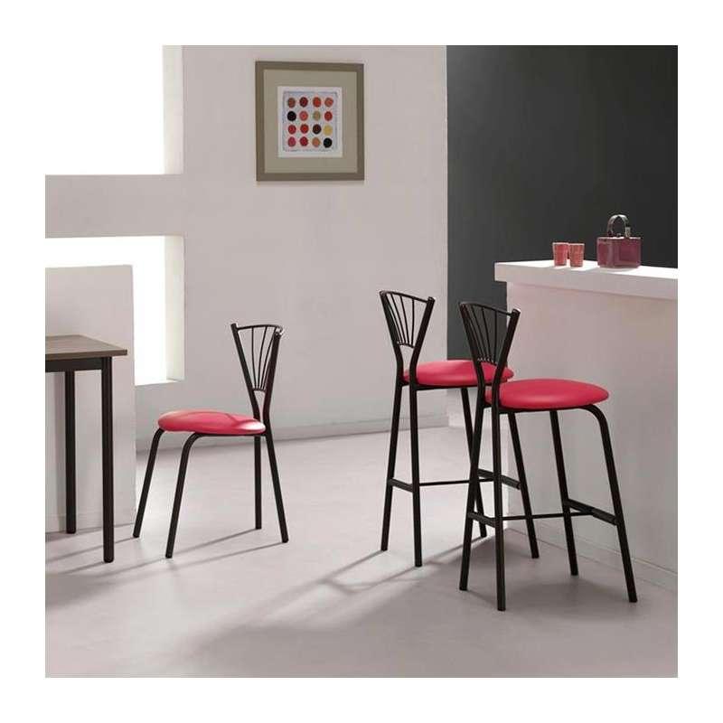Tabouret de bar de cuisine en m tal sandra 4 pieds tables chaises et tab - Tabouret bar aubergine ...