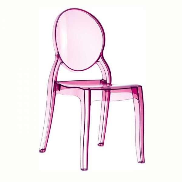 Chaise design en plexi transparent rose Elizabeth - 10