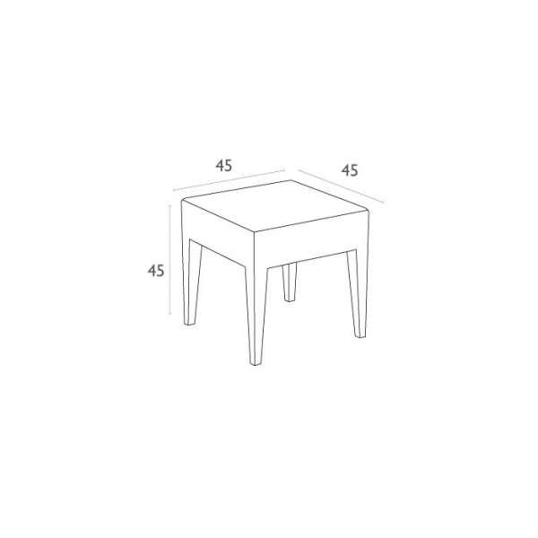 Table basse de terrasse carrée en résine tressée - Miami - 4