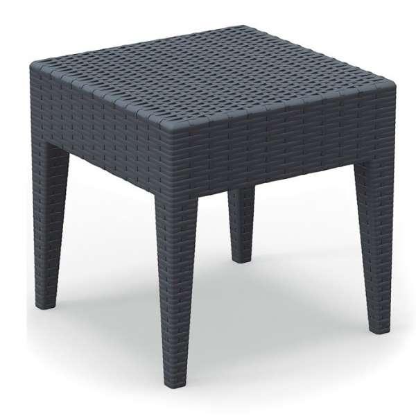 Table basse de jardin carrée gris foncé en résine tressée - Miami - 3