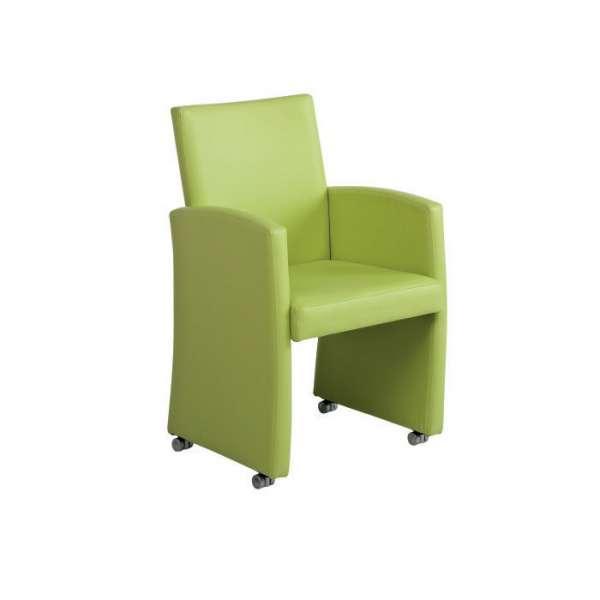 Fauteuil de table en vinyl vert - Sarah - 5
