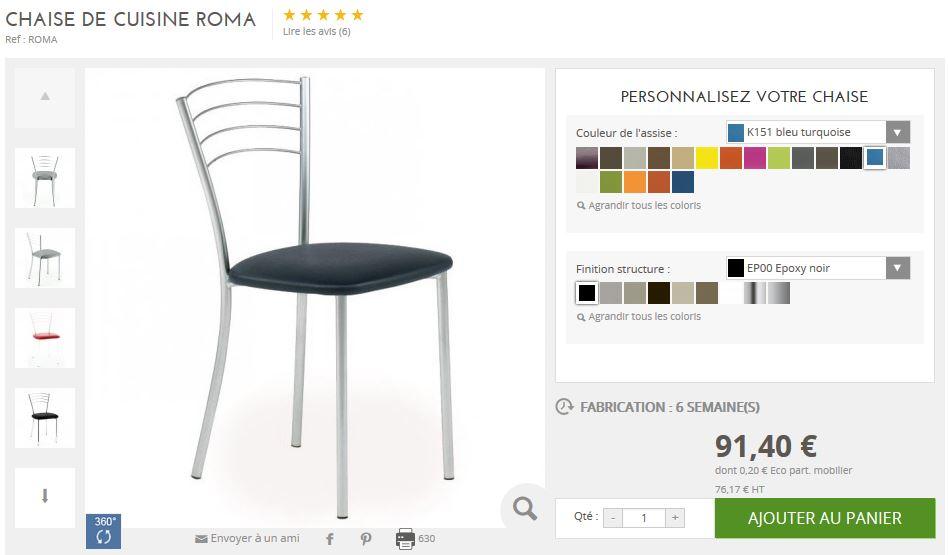 Presentation des la chaise personnalisable Roma
