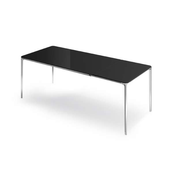 Table en verre design extensible slim sovet 4 pieds for Table italienne en verre