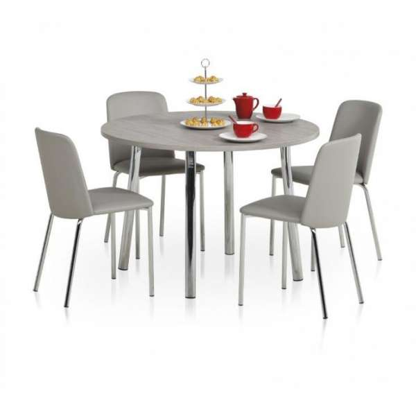 Table de cuisine ronde en stratifi elli 4 pieds for Table ronde 4 chaises