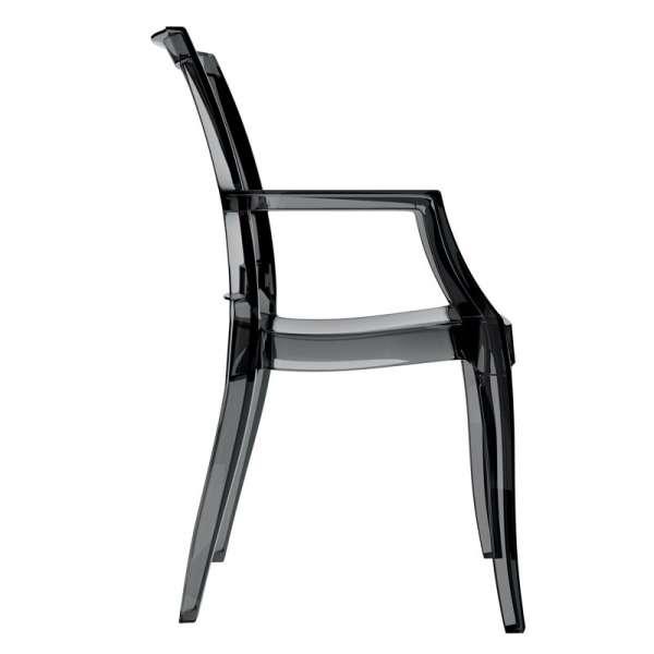 Fauteuil moderne en plastique transparent noir - Arthur - 5