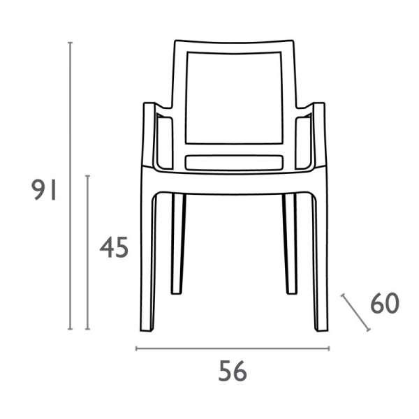 Dimensions du fauteuil moderne en polycarbonate - Arthur - 18