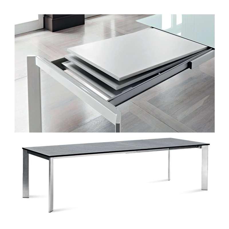 Table design rectangulaire extensible universe160 domitalia 4 pieds tables chaises et - Table rectangulaire design ...