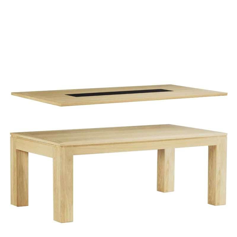 Table de salle manger en ch ne massif extensible for Table salle a manger 4 pieds