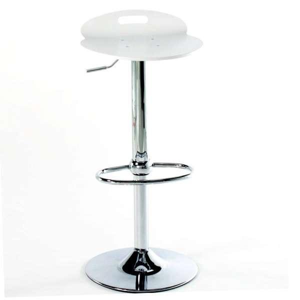 Tabouret design réglable pivotant en acier chromé et bois 6 - 6